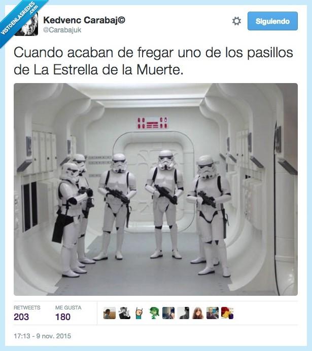 acabar,esperar,Estrella de la Muerte,fregado,fregar,imperial,pasillo,soldado,Star Wars,Stormtrooper