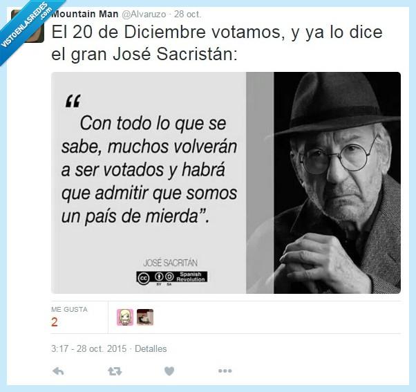 actualidad,elecciones,Jose Sacristan,mismos,país,politica,razon,volver,votar