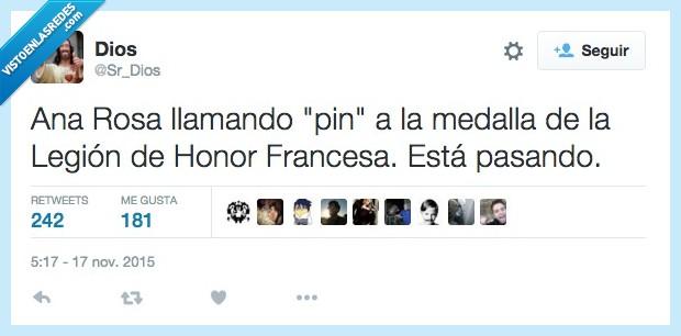 Ana Rosa Quintana,Francesa,Honor,Legión,medalla,pasando,pin,real,tontaca