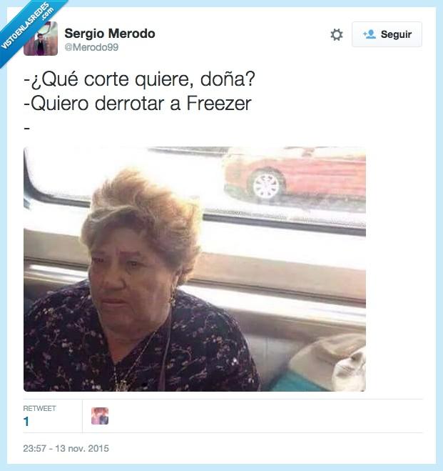 Anciana,Doña,Dragon Ball Z,Freezer,guerrero,peinado,pelo,saiyan,señora,Vieja