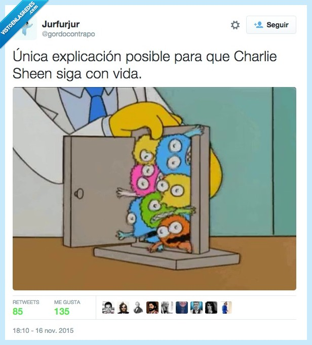 Charlie Sheen,enfermedad,morir,puerta,señor burns,Simpson,todo,vida,vivir