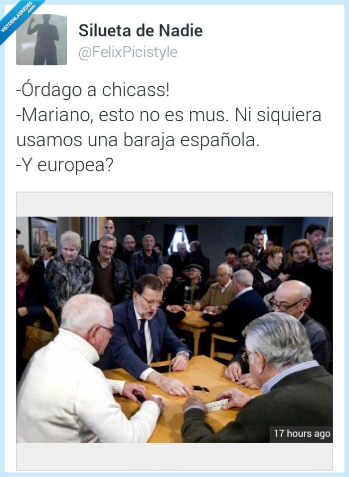 baraja,chica,domino,española,MAriano Rajoy,ordago