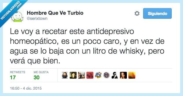 antidepresivo,bien,caro,homeopatico,mezclar,rebajar,recetar,timo,whisky