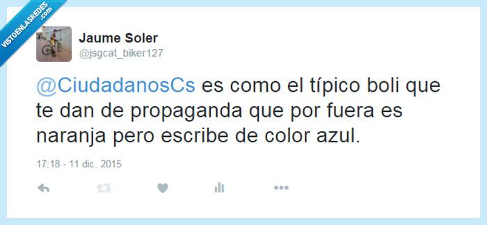 20D,azul,boli,c's,ciudadanos,elecciones,escribe,escribir,mismo,naranja,pp