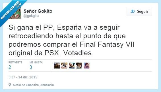 FF,Final Fantasy VII,gokgiru,partido popular,política,PP,PSX,Sony,twitter