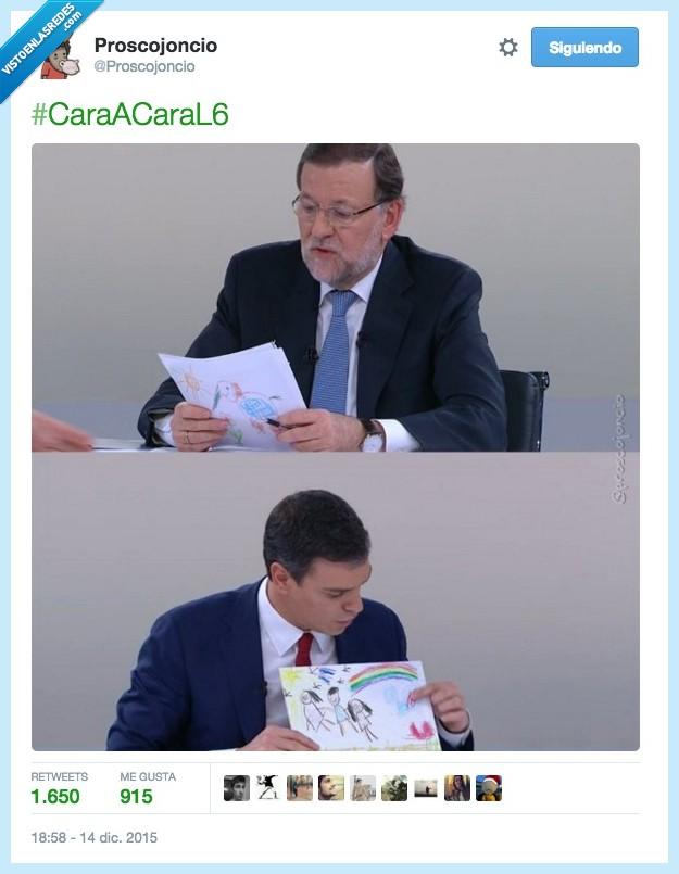 caracara,debate,dibujo,enseñar,Mariano Rajoy,niño,Pedro Sanchez