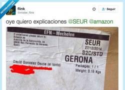 Enlace a Amazon y Seur llamando tonto en toda su cara a @mister_flink
