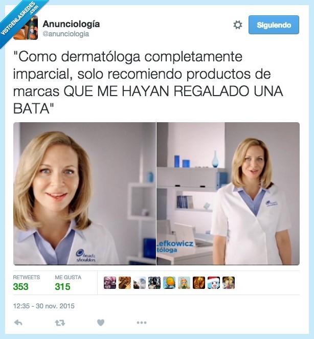 anuncio,bata,dermatologa,h&s,head and shoulders,imparcial,marca,recomendar,regalar