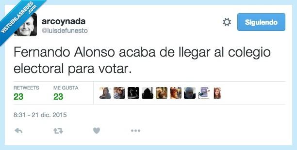20d,colegio,electoral,Fernando Alonso,llegar,perder,tarde,ultimo,votar