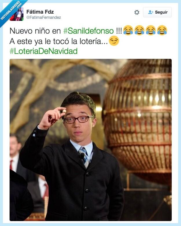 Iñigo Errejón,Lotería,niño,San Ildefonso