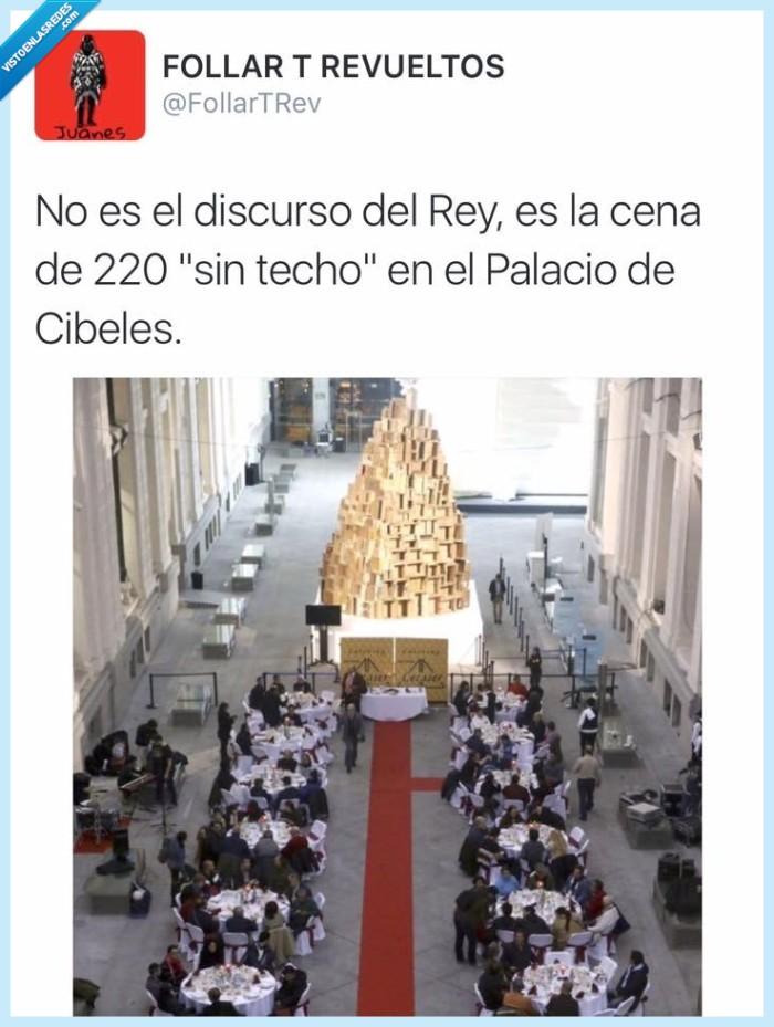 cena,cibeles,discurso,homeless,mendigo,navideña,palacio,rey,sintecho,vagabundo