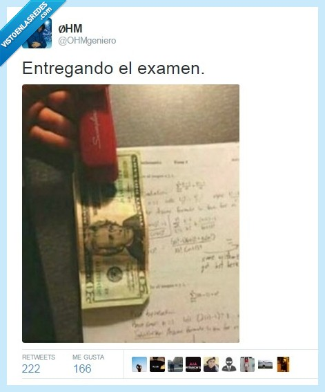 billete,dinero,examenes,humor,ingeniería,ohmgeniero,sobornar,twitter
