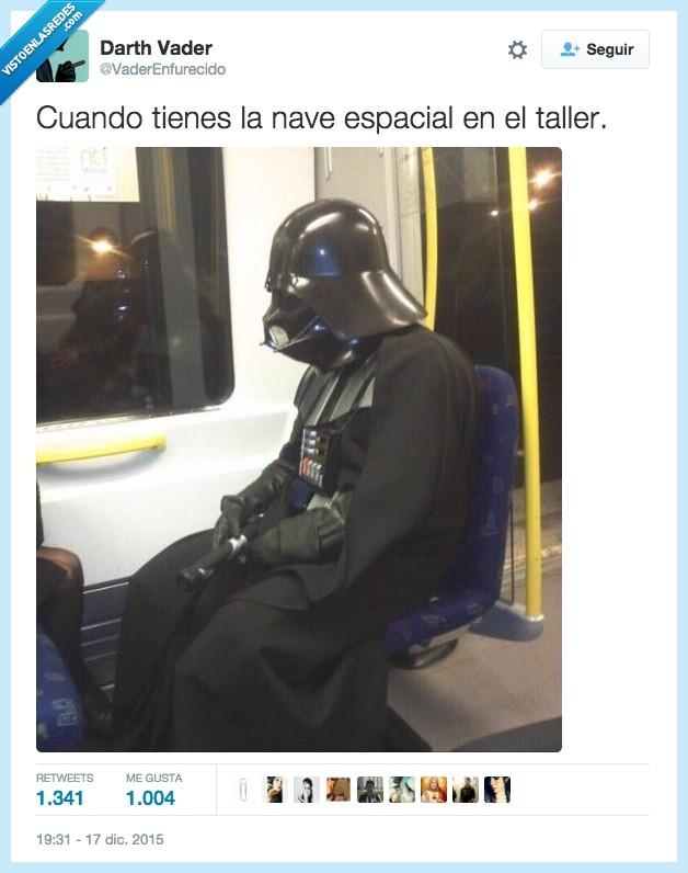 darth vader,disfraz,metro,nave espacial,que la fuerza te acompañe,star wars,taller,twitter