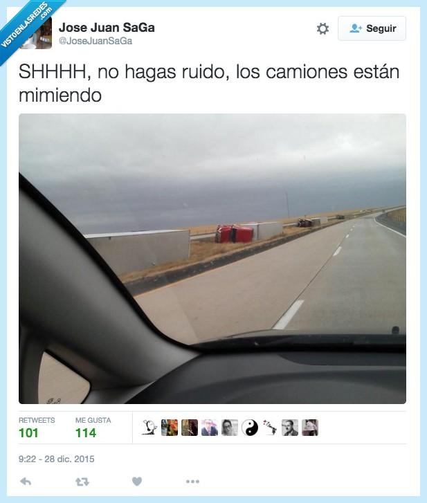 camiones,durmiendo,mimiendo,ruido,shh,silencio,tirado,tumbado