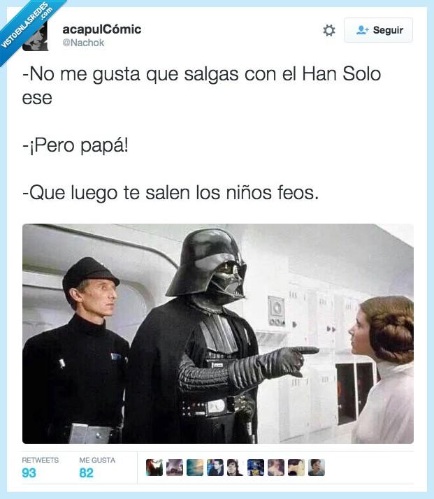 advertencia,avisada,aviso,Darth Vader,feos,Han Solo,hijos,juntar,Kylo Ren,Leia,padre