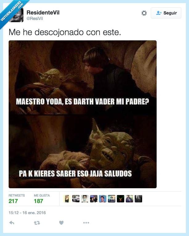 Darth Vader,eso,jaja,Luke Skywalker,pa k kieres saber eso,padre,saber,saludos,Star Wars,yoda