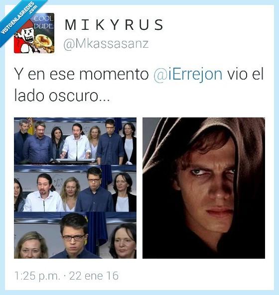 Anakin,Darth Vader,Iñigo Errejon,lado,mirada,odio,oscuro,Podemos