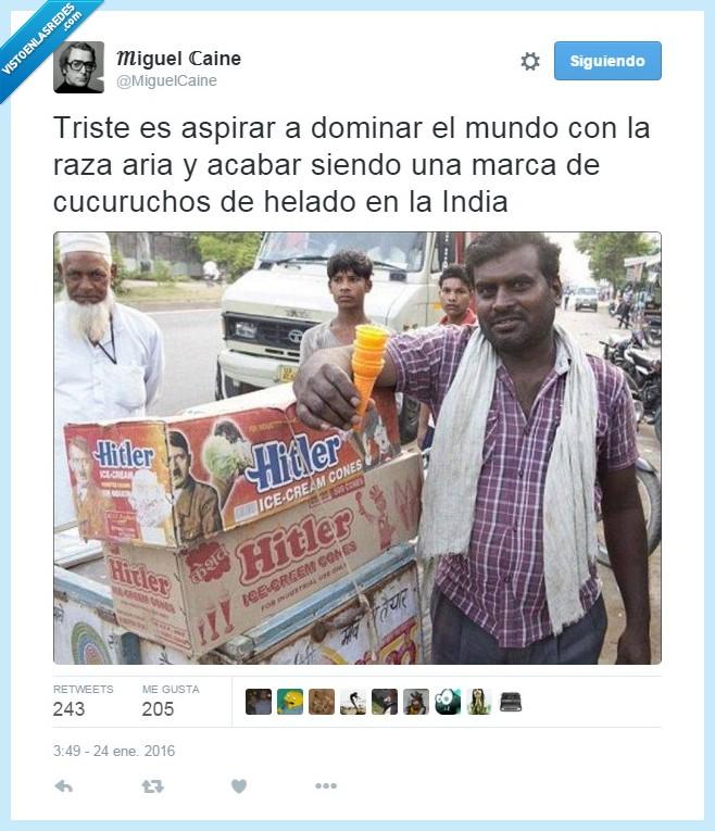 dictador,el vendedor esta un poquete moreno,helados,Hitler,India,raza aria
