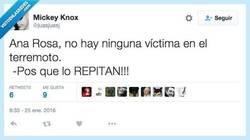 Enlace a Ana Rosa, siempre tan preocupada en caso de catástrofe por @juasjuasj