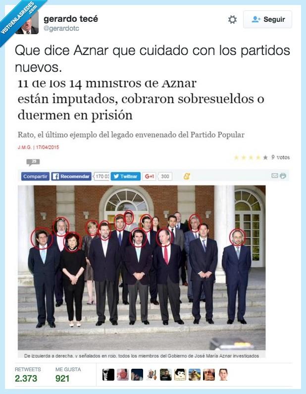 Aznar,cárcel,Ciudadanos,cobrar,ministro,nuevo,partido,podemos,prisión,sobresueldo