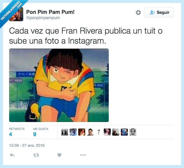 benji,dolor,foto,Fran Rivera,instagram,leer,oliver,Paquirri,publicación,supercampeones,tuit,tweet