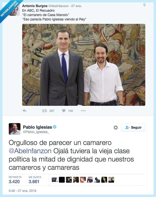 Antonio Burgos,camarero,Casa Manolo,dignidad,orgulloso,Pablo Iglesias,parecer