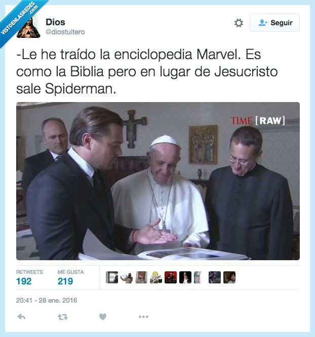 Biblia,enciclopedia,enseñar,Francisco,Leonardo Dicaprio,papa,spiderman