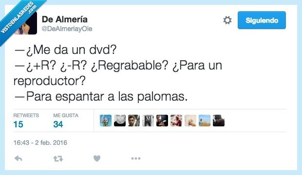 DVD,espantapájaros,espantapalomas,espantar,opciones,palomas,regrabable