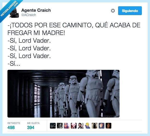 boss,Darth Vader,fila,fregado,fregao,fregar,madre,pasar,pisar,Star Wars,Stormtrooper
