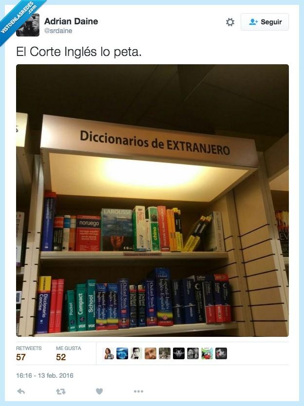 cartel,diccionario,el Corte Inglés,extranjero,letrero,rótulo