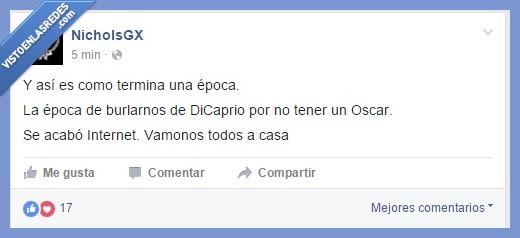 2016,Dicaprio,ganador,Leonardo,meme,NicholsGX,Oscar