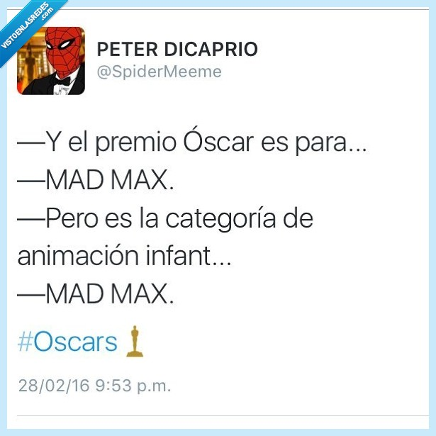 animación infantil,Mad Max,oscar,película,premios oscar,twitter