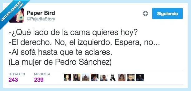 cama,derecha,derecho,izquierda,izquierdo,lado,mujer,Pedro Sánchez,PSOE,sofa