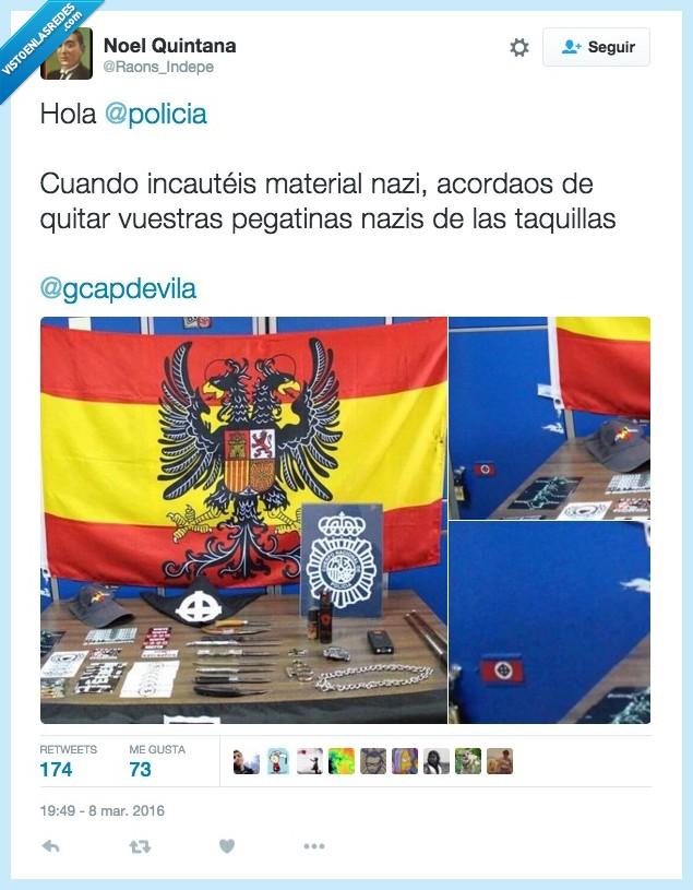 aguilucho,bandera,fascismo,incautar,material,nazi,policia,símbolo,taquilla