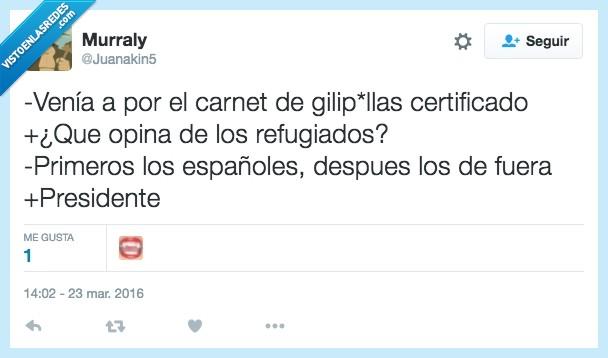 carnet,certificado,españoles,guerra,presidente,primero,refugiados