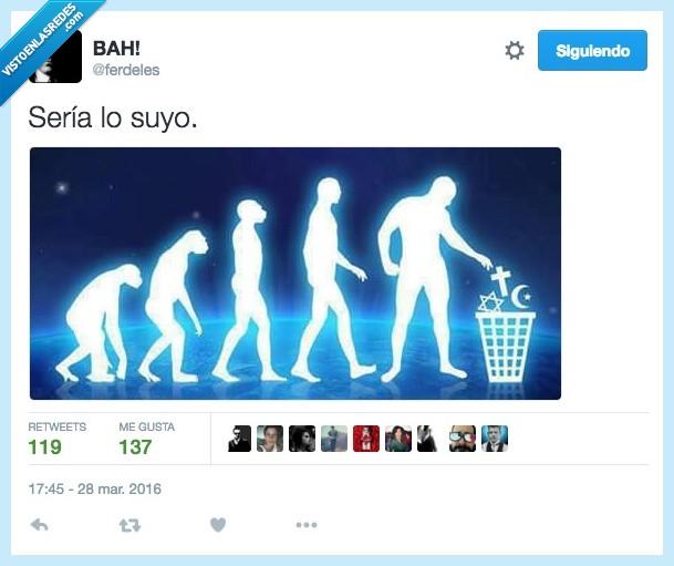 evolución,hombre,lo suyo,mono,religion,seria,tirar