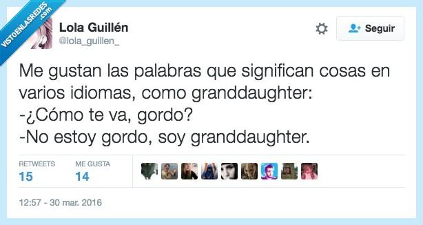 gordo,grandaughter,grandote,idioma,palabra,significar
