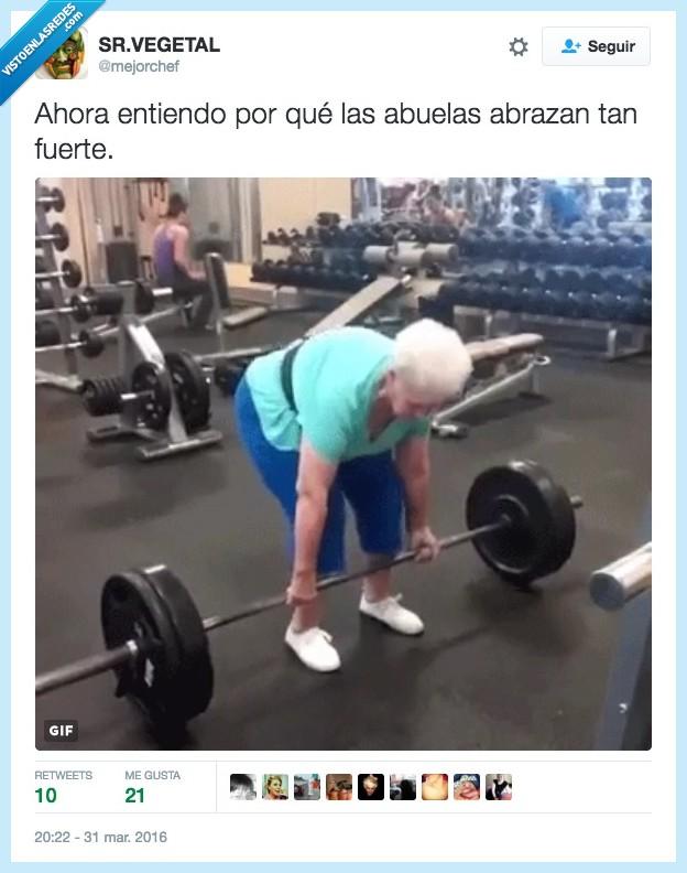 abrazo,abuela,fuerte,pesas