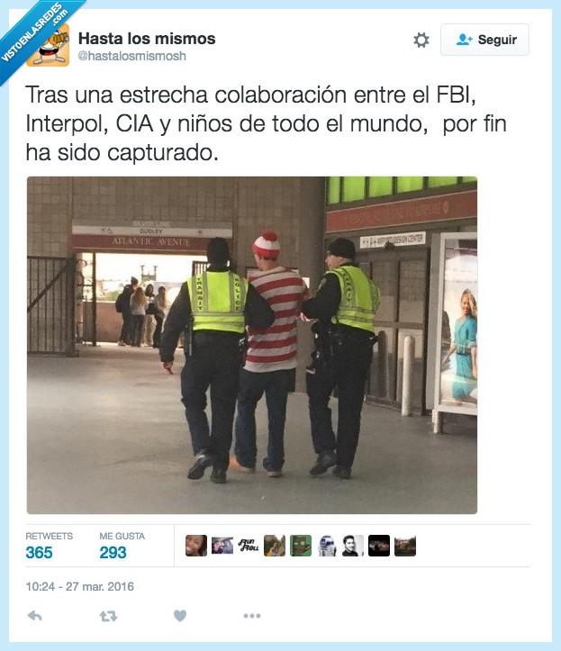 capturado,cia,encontrar,interpol,mundo,niño,policia,wally