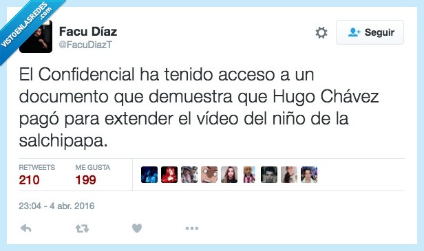 acceso,confidencial,detras,documento,extender,Hugo Chávez,niño,pagar,salchipapa,video