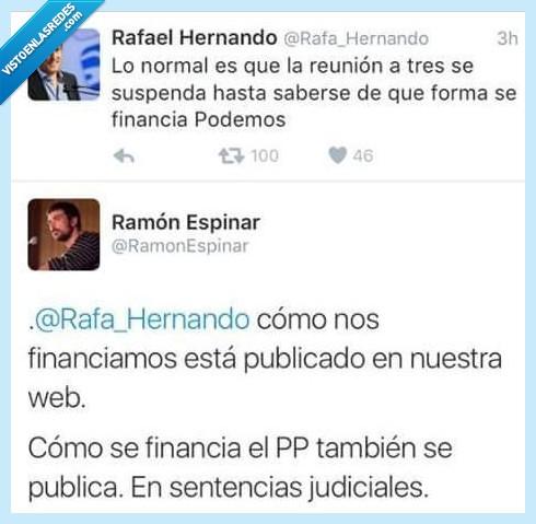 financiar,partido popular,Podemos,PP,Rafael Hernando,Ramón Espinar
