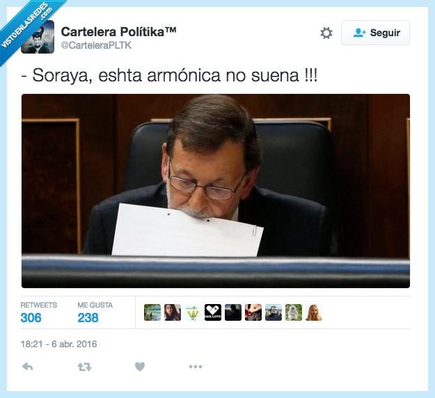 armonica,folio,Mariano Rajoy,musico,papel,sonar,soraya,suena
