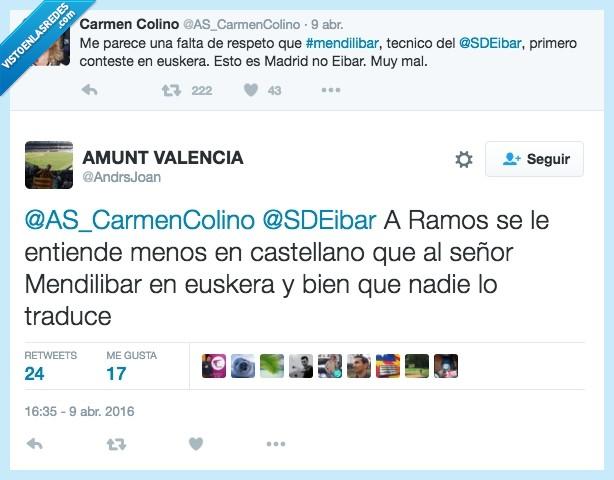 castellano,Eibar,euskera,hablar,Mendilibar,prensa,Ramos,rueda,traducir