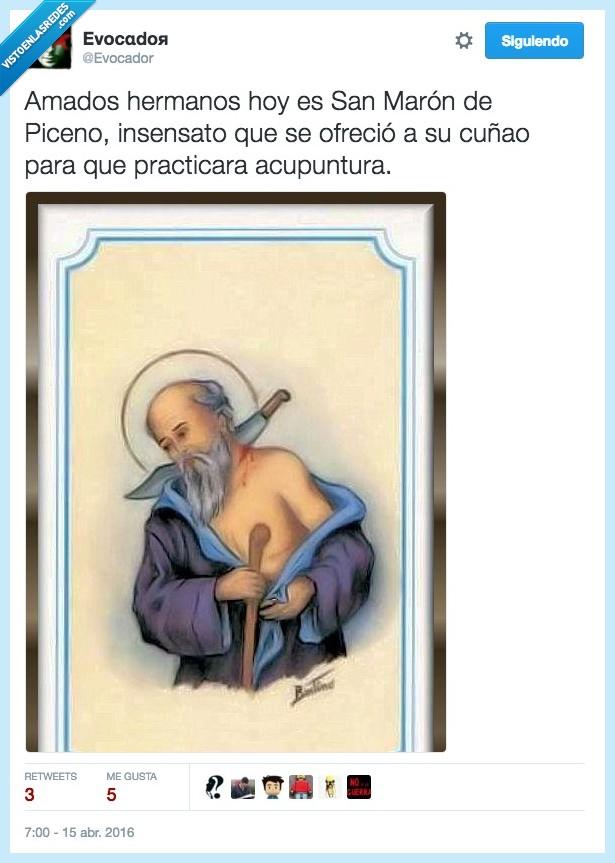 acupuntura,cuchillo,cuñao,espada,ofrecer,practicar,puñal,San Marón de Piceno,santo
