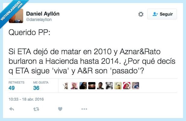 Aznar,corrupción,Eta,partido popular,politica,pp,Rato