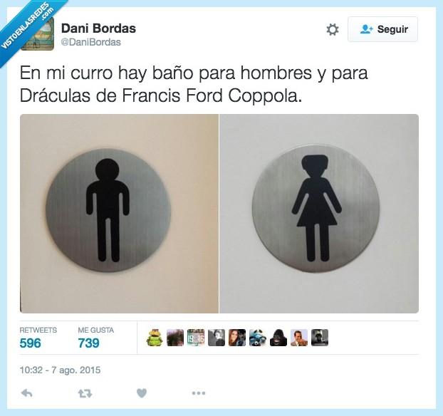 baño,curro,dracula,figura,francis ford coppola,hombre,lavabo,mujer,muñeco,puerta,trabajo