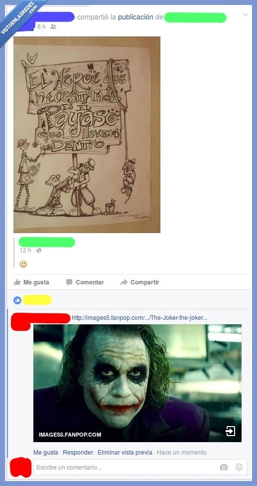 dentro,Facebook,heath ledger,heroe,interno,joker,payaso