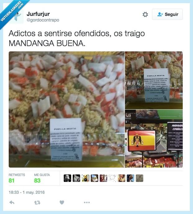 aguilucho,bandera,cangrejo,España,español,franquista,paella mixta,palitos