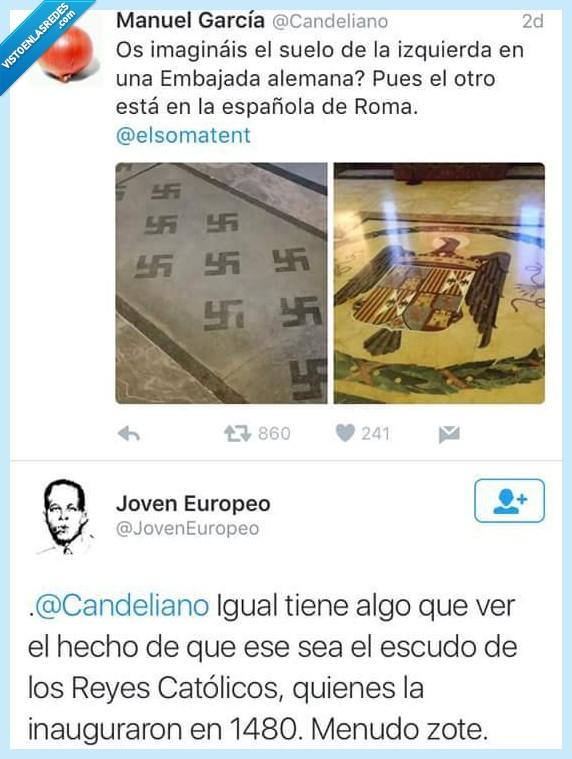 embajada,escudo,izquierda,listo,Reyes Catolicos,Roma,suelo