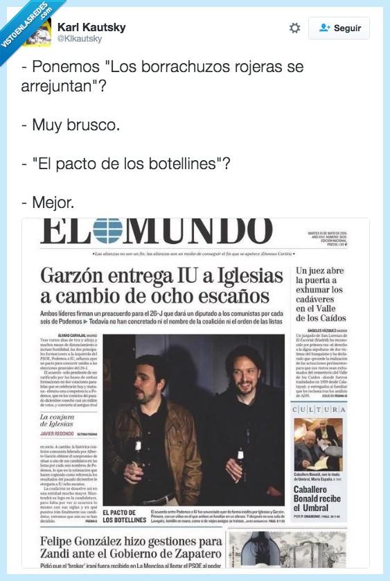Alberto,borracho,botellines,cerveza,El Mundo,Garzón,Iglesias,Izquierda Unida,Pablo,pacto,Podemos